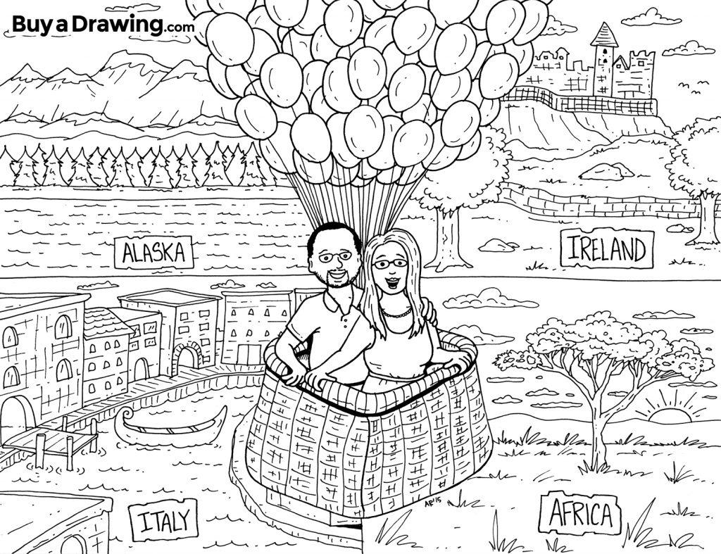 Custom Cartoon Wedding Coloring Page
