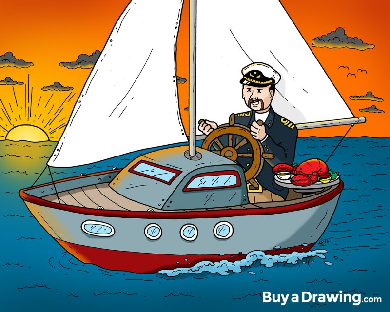 Custom Sailing Drawing Gift