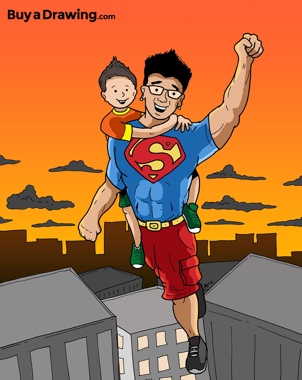 Carlos as Superman Cartoon