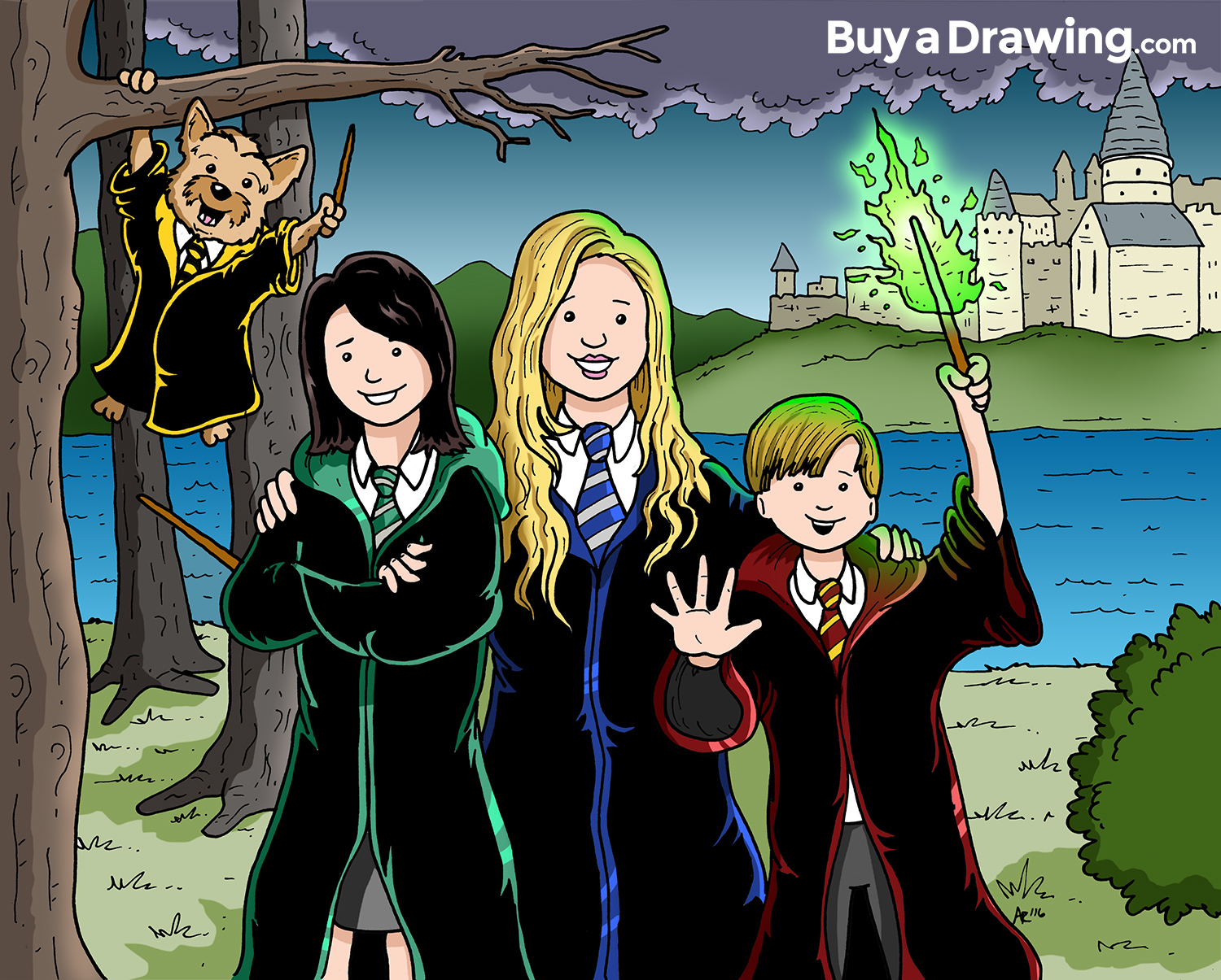 Cartoon Drawing of a Family as Harry Potter Characters