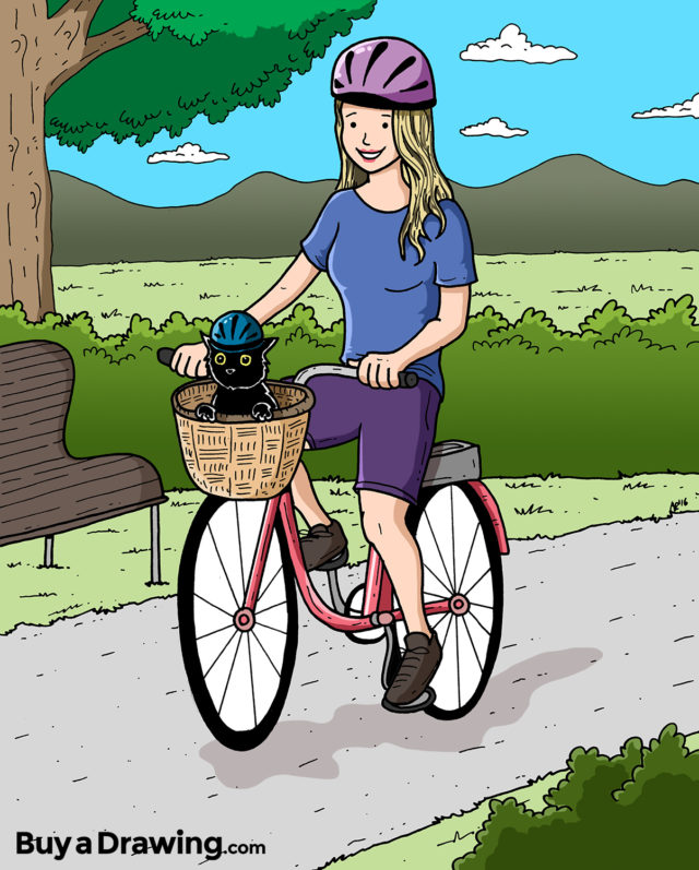 Cartoon Drawing of a Girl and Her Cat on a Bike