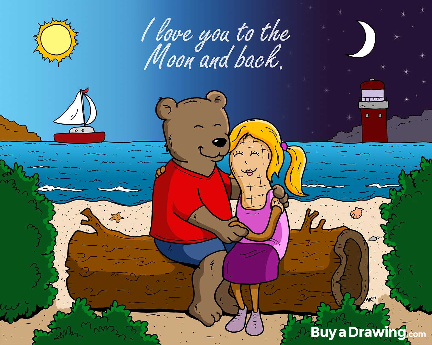 Cartoon Bear and Peanut Happy Anniversary Custom Drawing