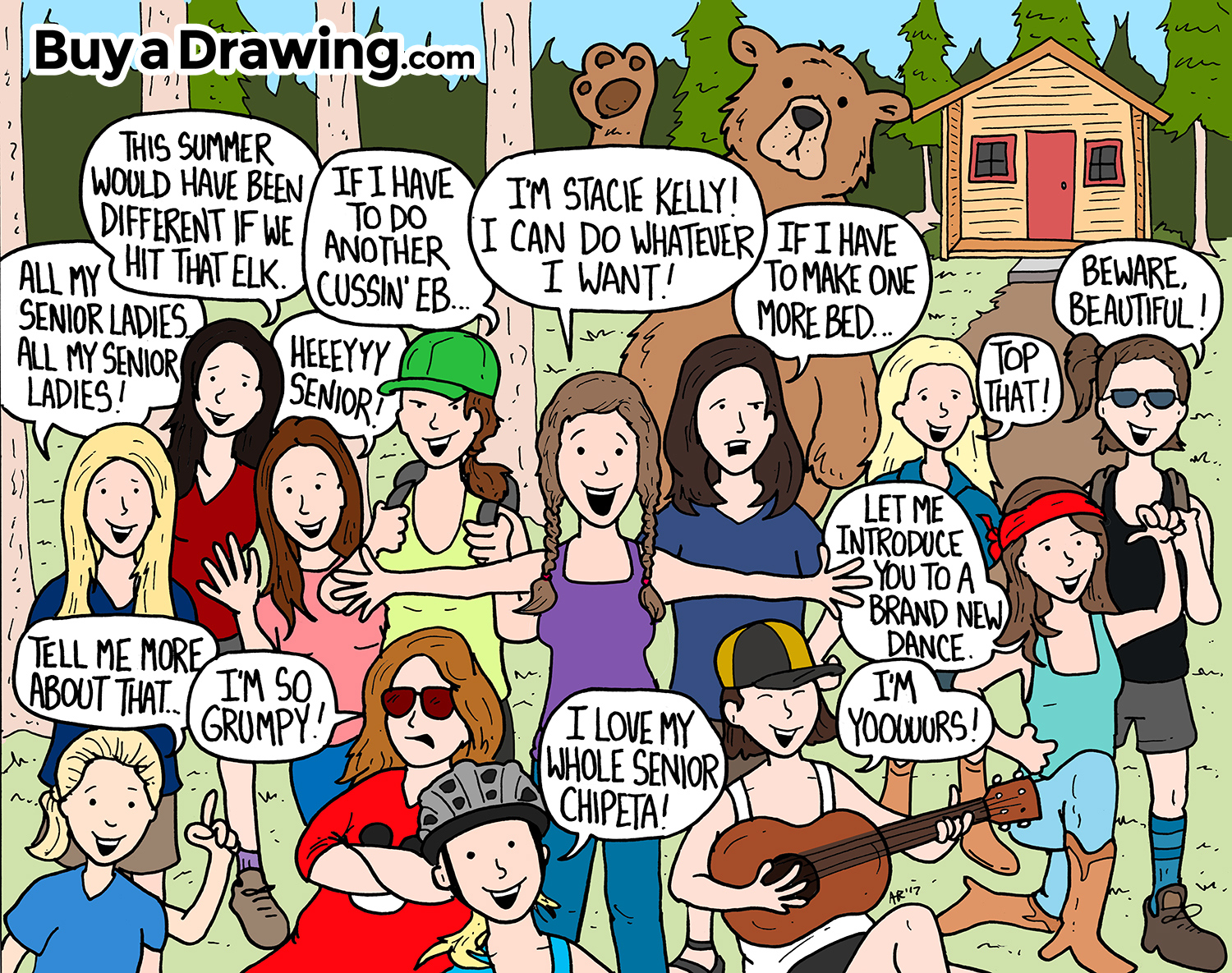 Cartoon Drawing of a Big Group of Friends at Summer Camp