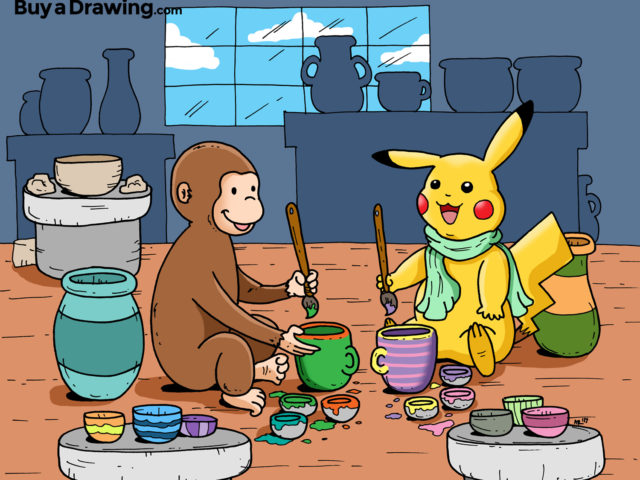 Custom Cartoon Drawing of Pikachu and Curious George