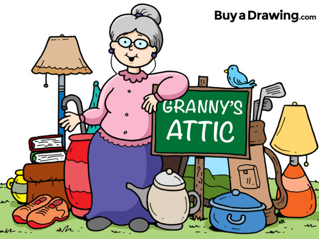 Cartoon Granny Attic and Yard Sale Drawing for Church Flyer